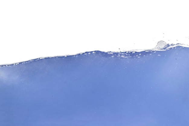 The isolated sea water blue wave  underwater, waterline