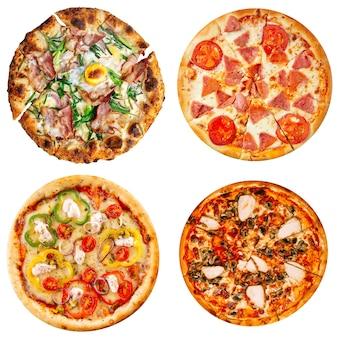 Изолированный набор вкусной изолированной пиццы