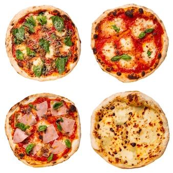 맛있는 나폴리 피자의 고립 된 세트