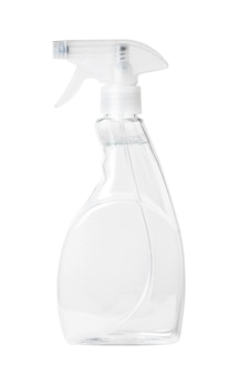 Isolated side view of the clear spray bottle with a clear liquid inside