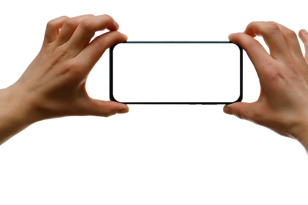 Isolated smartphone in woman's hands. blank white screen.