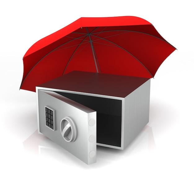 Изолированный стальной сейф и красный зонтик. 3d-рендеринг