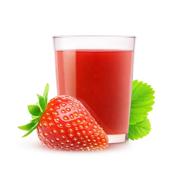 격리 된 딸기 주스 흰색 배경에 고립 된 신선한 딸기 음료의 유리
