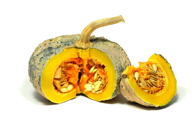 Isolated thai species pumpkin sliced on white with clipping path
