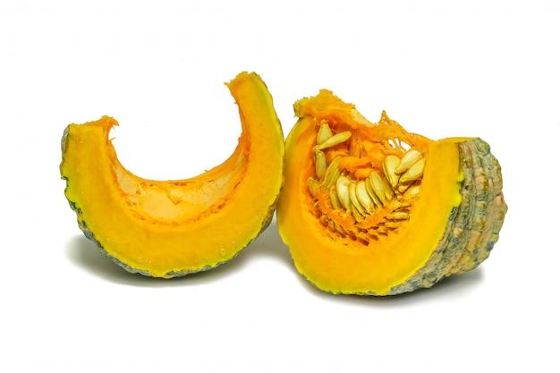 Isolated thai species pumpkin sliced