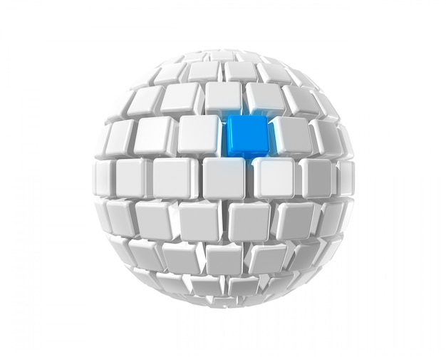 Isolated three dimensional white sphere made of cubes whith a blue selected cube