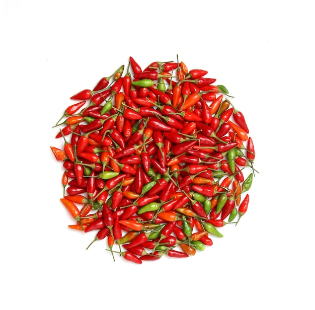 Isolated top view of a group of chili peppers on white background
