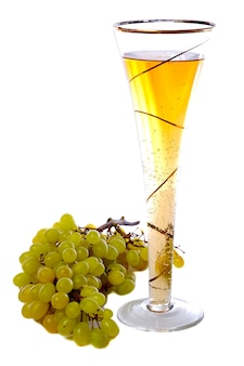 Isolated white series, fresh grapesate and champagne