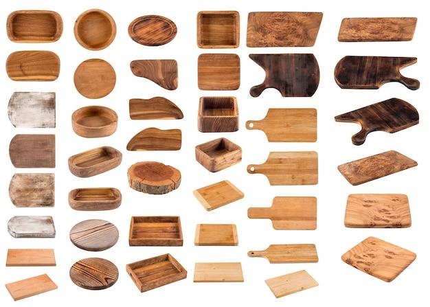Изолированные деревянная посуда доски коллекции коллаж