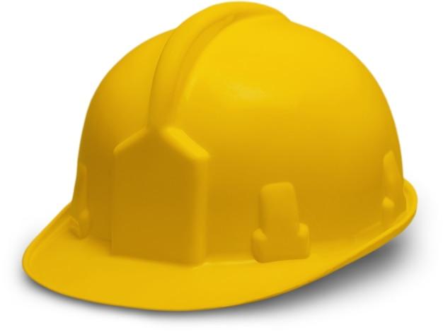 白の孤立した黄色いヘルメット