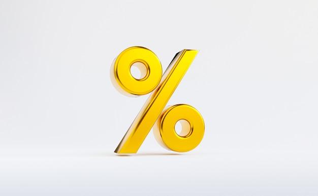 ショッピング割引、ショッピングプロモーション、広告表示の概念の数を追加するための黄金のパーセンテージ記号の白い背景の分離。 3dレンダリング