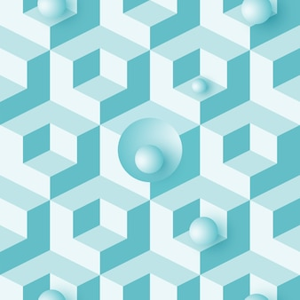 Isometric 3d background with cubes. futuristic geometric seamless pattern. optical illusion of volume