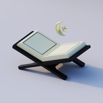 Isometric 3d rendering illustration of quran with crescent moon and star islamic symbol