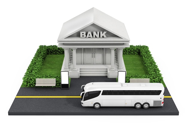Isometric bank finance building in city on a white background. 3d rendering