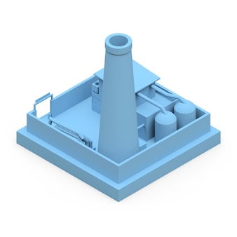Isometric cartoon factory in the style of minimal. blue building on a white surface