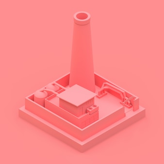 Isometric cartoon factory in the style of minimal. pink building on a pink background