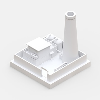 Isometric cartoon factory in the style of minimal. white building. 3d rendering.