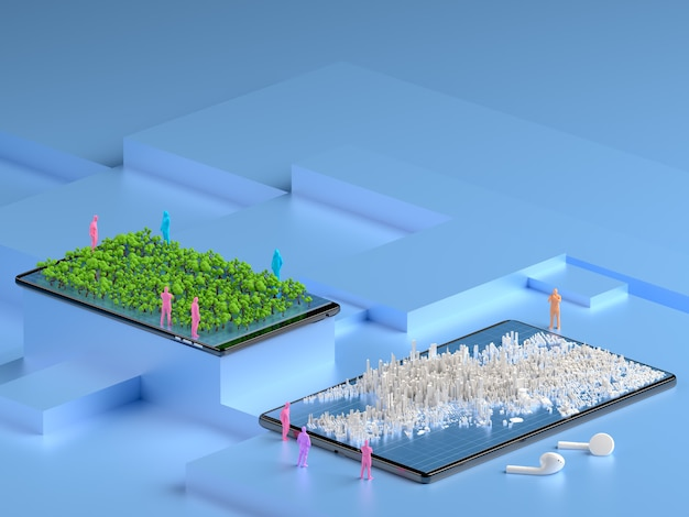 Isometric city on the smartphone