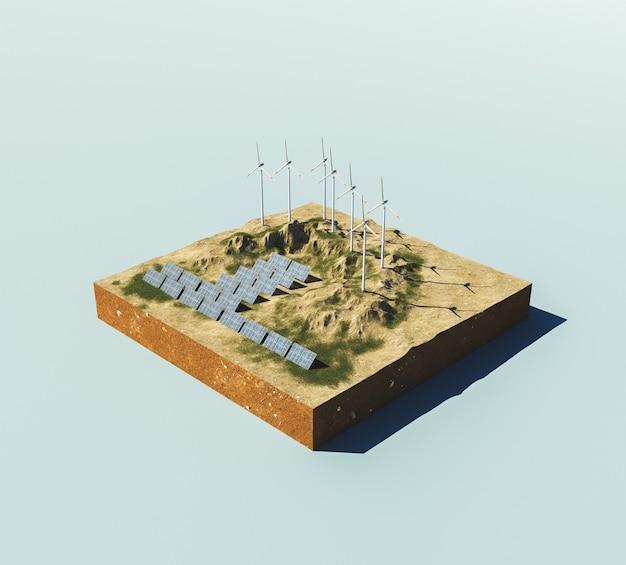 기후 변화 환경 재생 에너지의 아이소메트릭 개념