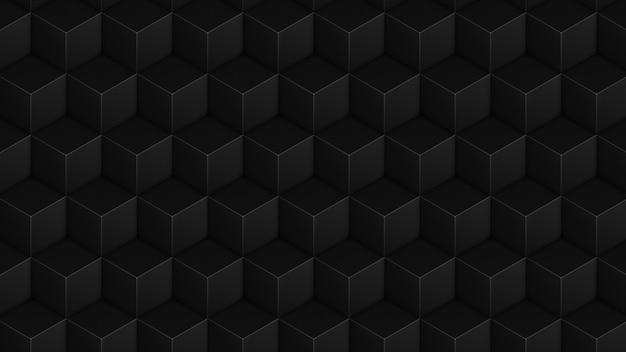 アイソメトリックキューブブラックシームレスパターン