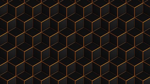 ゴールドのシームレスパターンで黒のアイソメトリックキューブ