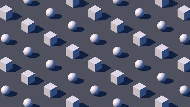 Изометрическая геометрия фон с 3d примитивами и жесткой тенью