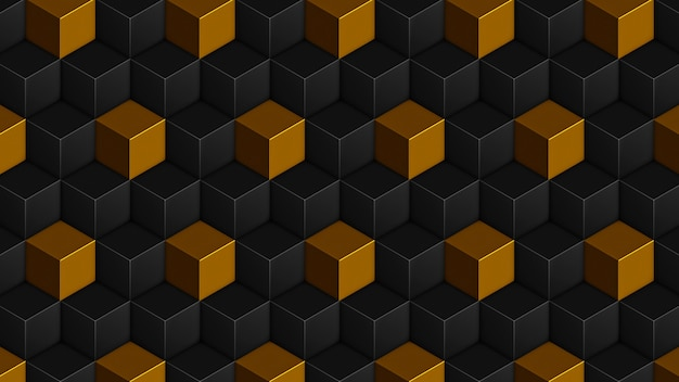 Isometric golden black cubes seamless pattern. 3d render cubes background