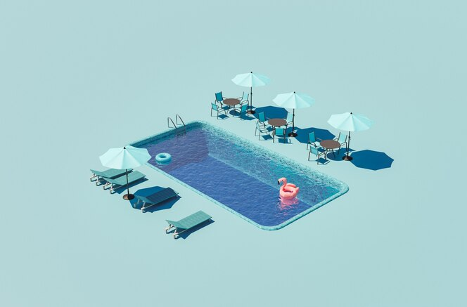 Isometric hotel swimming pool with umbrellas and hammocks around summer concept