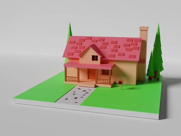 アイソメトリックハウスの3dレンダリング