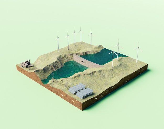 아이소메트릭 수력 발전소