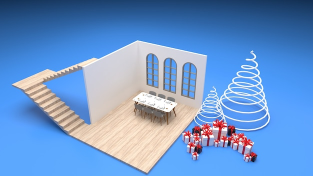 Isometric interior of the dining room modern style dining table by the window