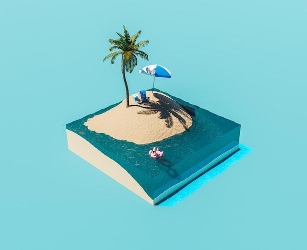 Изометрический остров с пальмой и пляжными аксессуарами летняя концепция