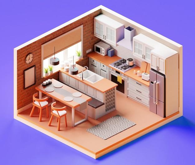 Изометрическая кухонная композиция закрытый вид столовой с плитой, посудой и шкафами. 3d иллюстрации