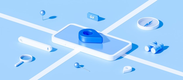 Isometric of map and location pin or navigation icon sign on blue background with search concept. 3d rendering.
