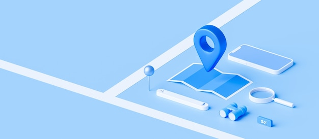 Isometric of map and location pin or navigation icon sign on blue background with search concept.