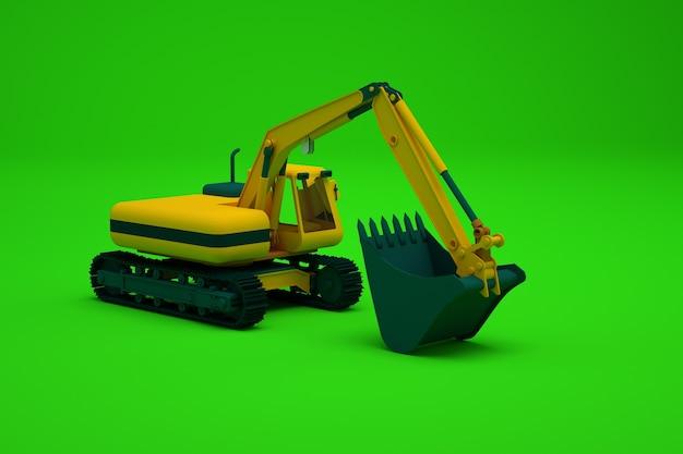 黄色の掘削機、緑の孤立した背景上の大型建設機械の等角投影モデル。バケツ付きの重い建設機械。クローズアップ、側面図。