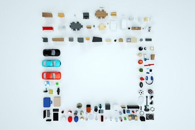Isometric models of electrical household appliances and furniture. top view. computer 3d graphics. shopping. instrument collection. isolated objects on a white background