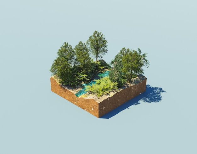 Isometric nature corner with a river and trees around