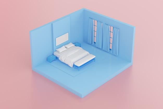 분홍색 배경에 격리된 흰색 침대 시트, 액자, 사이드 테이블이 있는 침실의 아이소메트릭. 3d 렌더링.