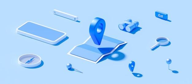 Изометрические карты и местоположения булавки или значка навигации подписывают на синем фоне с концепцией поиска. 3d-рендеринг.