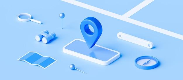 Изометрические карты и местоположения булавки или значка навигации на синем фоне