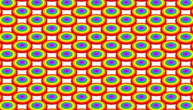 프라이드 데이 축하를 위한 무지개 색상의 원의 아이소메트릭 패턴