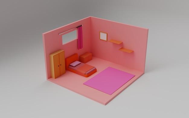 アイソメトリックピンクの部屋の3dレンダリング