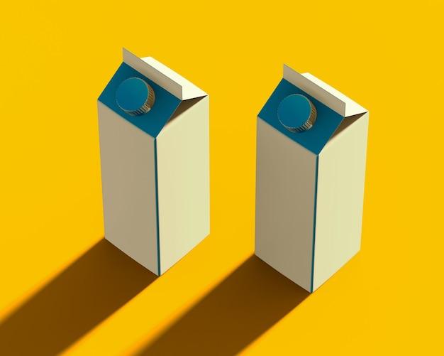 黄色の丸ネジプラスチックキャップ付き液体製品の白いカートンパッケージの等尺性レンダリング