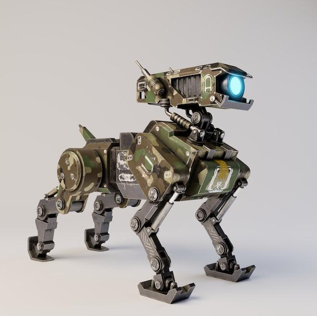 Isometric robot dog on white background