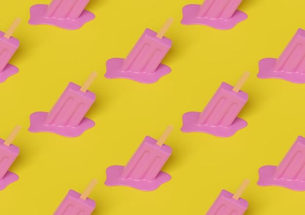 ピンクの溶けたアイスクリームの等尺性のシームレスなパターン