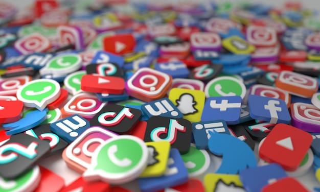 배경에 흩어져 있는 아이소메트릭 소셜 미디어 네트워크 로고