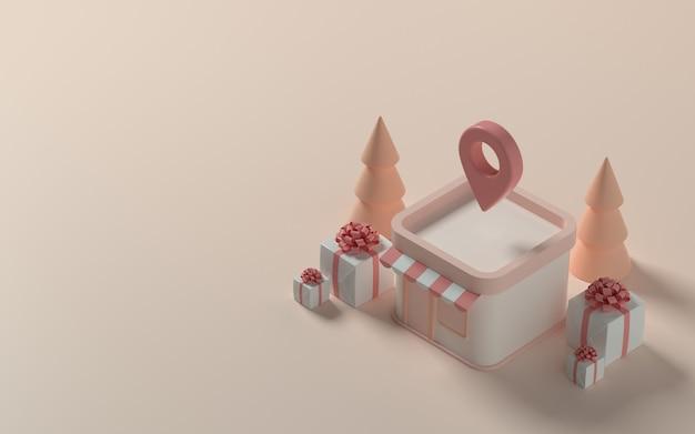 배너 또는 프로모션을 위한 선물 및 크리스마스 트리가 있는 아이소메트릭 저장소. 3d 그림