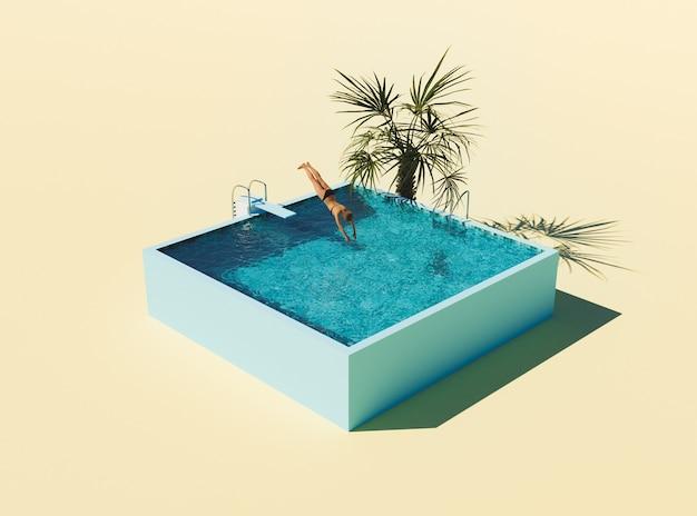 Изометрический бассейн с трамплином и женщина прыгает
