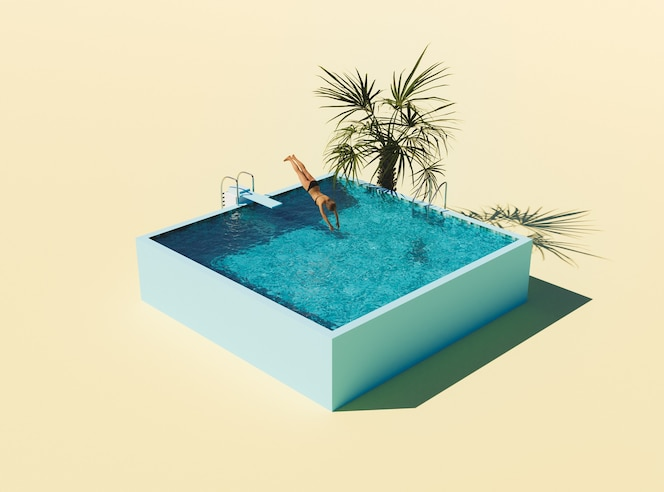 Isometric swimming pool with springboard and woman jumping